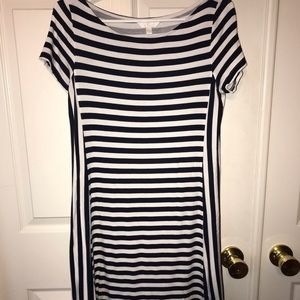 Charming Charlie navy and white striped dress